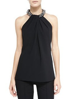 Carmen Marc Valvo Halter Beaded-Neck Top, Black