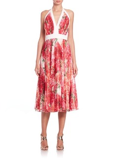 Carmen Marc Valvo Halter Floral-Print Cocktail Dress