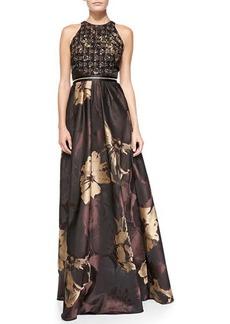 Carmen Marc Valvo Halter Metallic Floral Jacquard Gown
