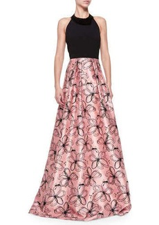 Carmen Marc Valvo Halter-Neck Gown with Floral Skirt  Halter-Neck Gown with Floral Skirt