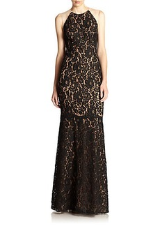 Carmen Marc Valvo Illusion-Back Lace Gown