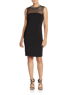 Carmen Marc Valvo Infusion Beaded Neckline Illusion Dress