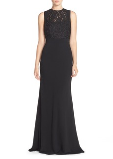Carmen Marc Valvo Infusion Beaded Soutache Crepe Gown