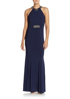 Carmen Marc Valvo Infusion Embellished Neckline Jersey Gown