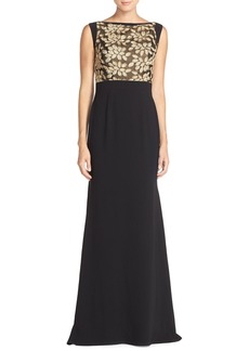 Carmen Marc Valvo Infusion Embroidered Crepe Gown