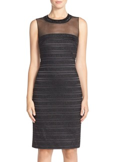 Carmen Marc Valvo Infusion Mesh & Satin Sheath Dress