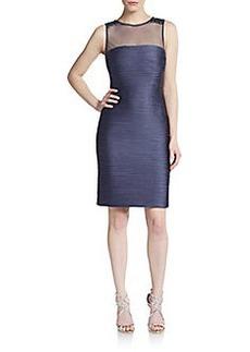 Carmen Marc Valvo Infusion Ruched Sleeveless Illusion Dress