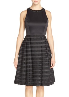 Carmen Marc Valvo Infusion Stripe Satin Fit & Flare Dress