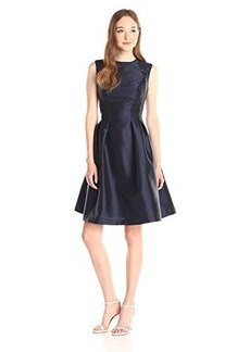 Carmen Marc Valvo Infusion Women's Fitted Waist Dress with Release Pleats, Navy, 10