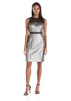 Carmen Marc Valvo Infusion Women's Net Illusion Top with Metallic Brocade Sheath Dress, Gold/Black, 12