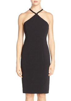 Carmen Marc Valvo Infusion Beaded Neck Crepe Sheath Dress