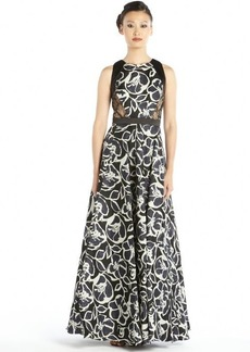 Carmen Marc Valvo ivory, black and blue printed silk gazar and lace ball gown