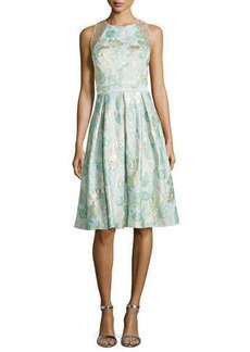 Carmen Marc Valvo Jacquard Full-Skirt Cocktail Dress  Jacquard Full-Skirt Cocktail Dress