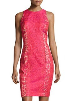 Carmen Marc Valvo Jacquard Sleeveless Cocktail Dress, Watermelon