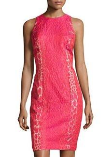 Carmen Marc Valvo Jacquard Sleeveless Cocktail Dress, Watermelon