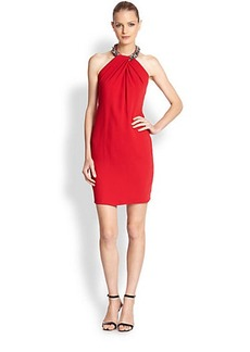 Carmen Marc Valvo Jeweled Halter Column Dress