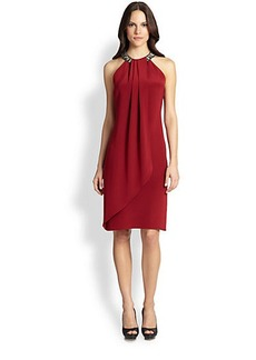 Carmen Marc Valvo Jeweled Halter-Neck Dress