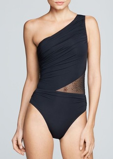 Carmen Marc Valvo Kalahari One Shoulder Maillot One Piece Swimsuit