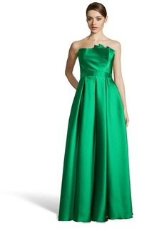 Carmen Marc Valvo kelly green woven twill pleated strapless ball gown