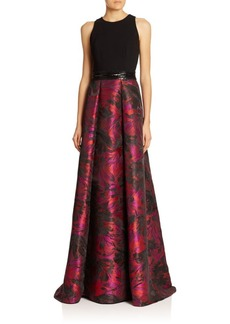 Carmen Marc Valvo Knit-Top Brocade Gown