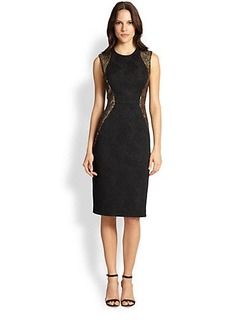 Carmen Marc Valvo Lace & Brocade Dress