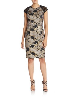 Carmen Marc Valvo Lace Brocade Mesh-Sleeve Sheath Dress