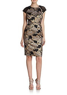 Carmen Marc Valvo Lace Cap-Sleeve Brocade Dress