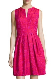 Carmen Marc Valvo Lace Fit-and-Flare Cocktail Dress, Orchid