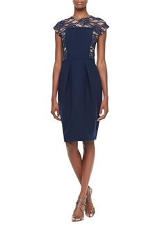 Carmen Marc Valvo Lace-Illusion Cocktail Dress, Midnight