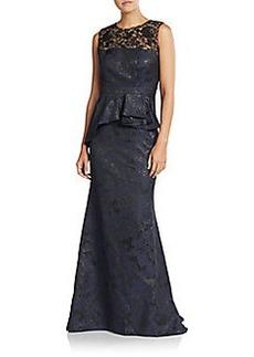 Carmen Marc Valvo Lace Jacquard Peplum Gown