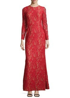 Carmen Marc Valvo Lace Long-Sleeve Gown, Red