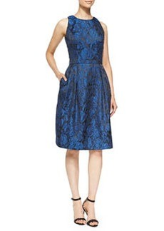 Carmen Marc Valvo Lace-Overlay Cocktail Dress