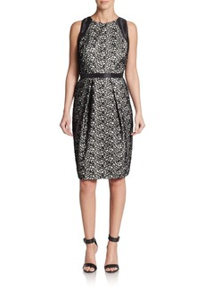 Carmen Marc Valvo Lace Overlay Sheath Dress