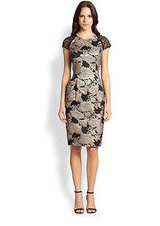 Carmen Marc Valvo Lace-Sleeve Brocade Dress