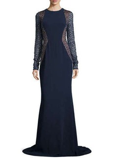 Carmen Marc Valvo Lace-Sleeve Crepe Gown
