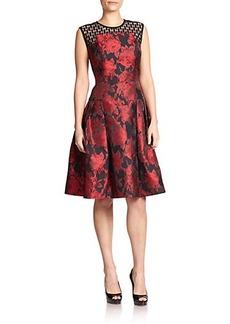 Carmen Marc Valvo Lace-Top Brocade Dress