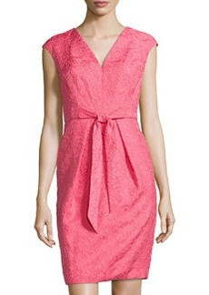 Carmen Marc Valvo Lace V-Neck Cocktail Dress, Coral
