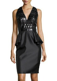 Carmen Marc Valvo Leather-Bodice Peplum Cocktail Dress