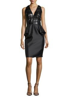 Carmen Marc Valvo Leather-Bodice Peplum Cocktail Dress
