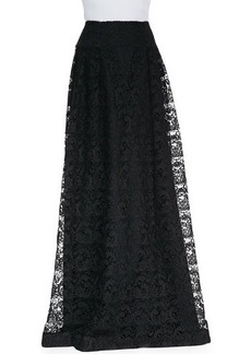 Carmen Marc Valvo Long Lace Skirt
