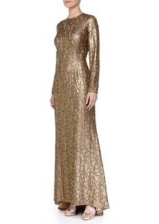 Carmen Marc Valvo Long-Sleeve Beaded Jacquard Gown
