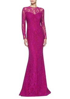 Carmen Marc Valvo Long-Sleeve Illusion Lace Gown