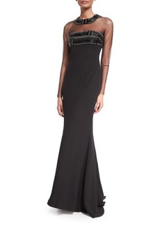 Carmen Marc Valvo Long-Sleeve Illusion-Neck Beaded-Top Gown  Long-Sleeve Illusion-Neck Beaded-Top Gown
