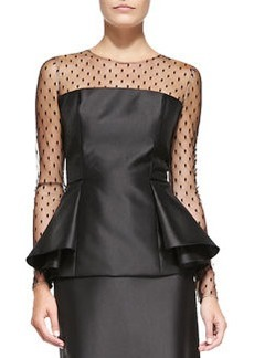 Carmen Marc Valvo Long-Sleeve Illusion Peplum Top