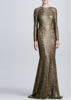 Carmen Marc Valvo Long-Sleeve Lace Gown