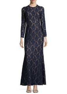 Carmen Marc Valvo Long-Sleeve Lace Gown, Midnight