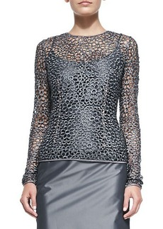Carmen Marc Valvo Long-Sleeve Lace Illusion Top