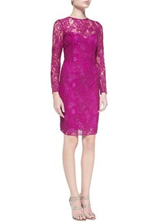 Carmen Marc Valvo Long-Sleeve Lace Overlay Cocktail Dress