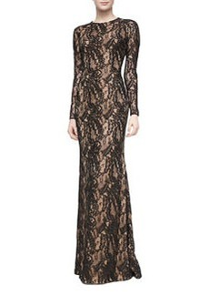 Carmen Marc Valvo Long-Sleeve Lace-Overlay Gown