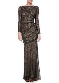 Carmen Marc Valvo Long Sleeve Lace Sequin Gown